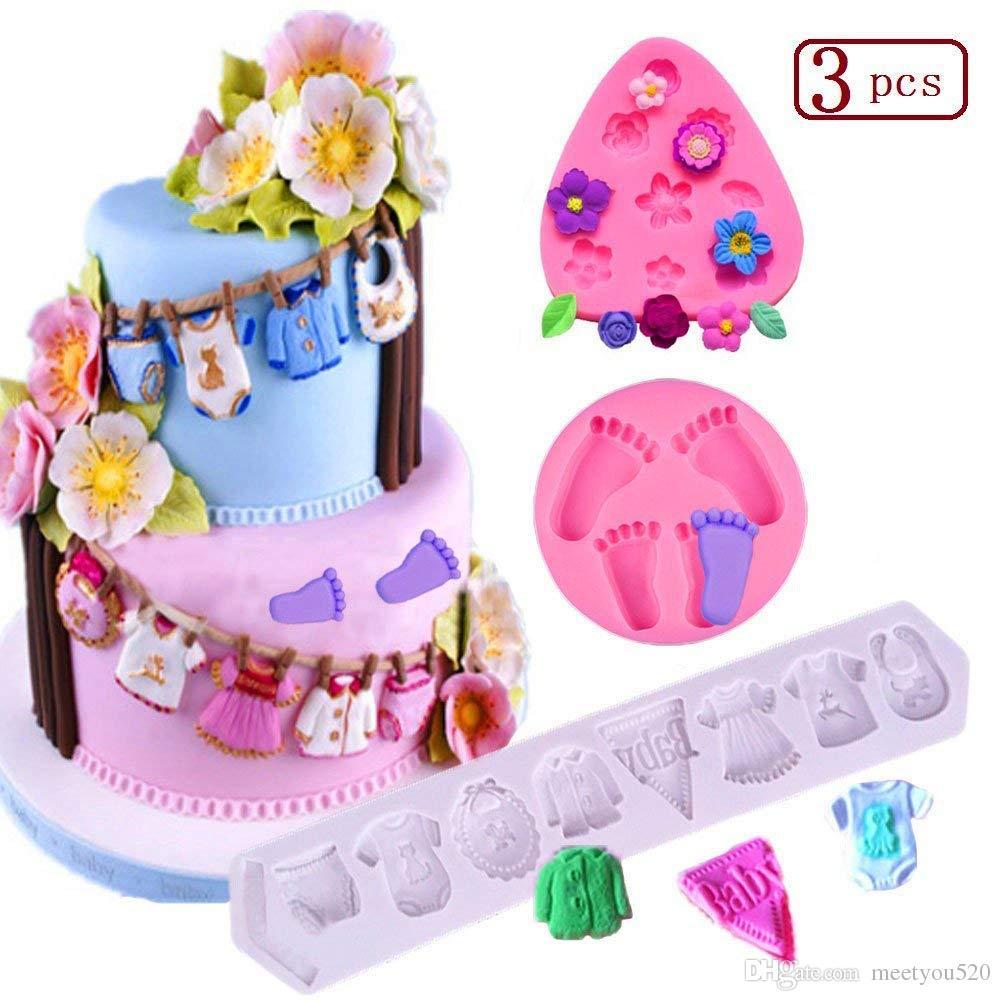 Grosshandel Baby Kuchen Fondant Schimmel 3d Silikon Baby Fusse Baby