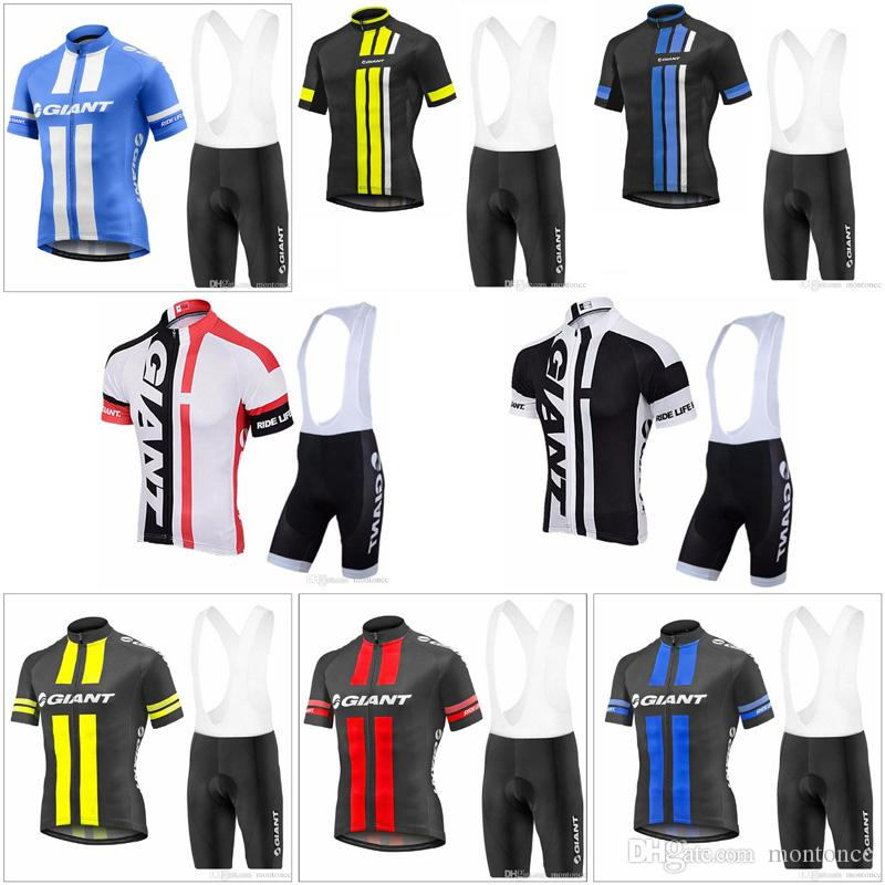 GIANT Team Cycling Short Sleeves Jersey Men Bicycle Wear 3D Gel Pad Bib  Shorts Sets MTB Sport Ropa Ciclismo Summer Bike Clothes E61503 Mountain Bike  ... 27fbed17c