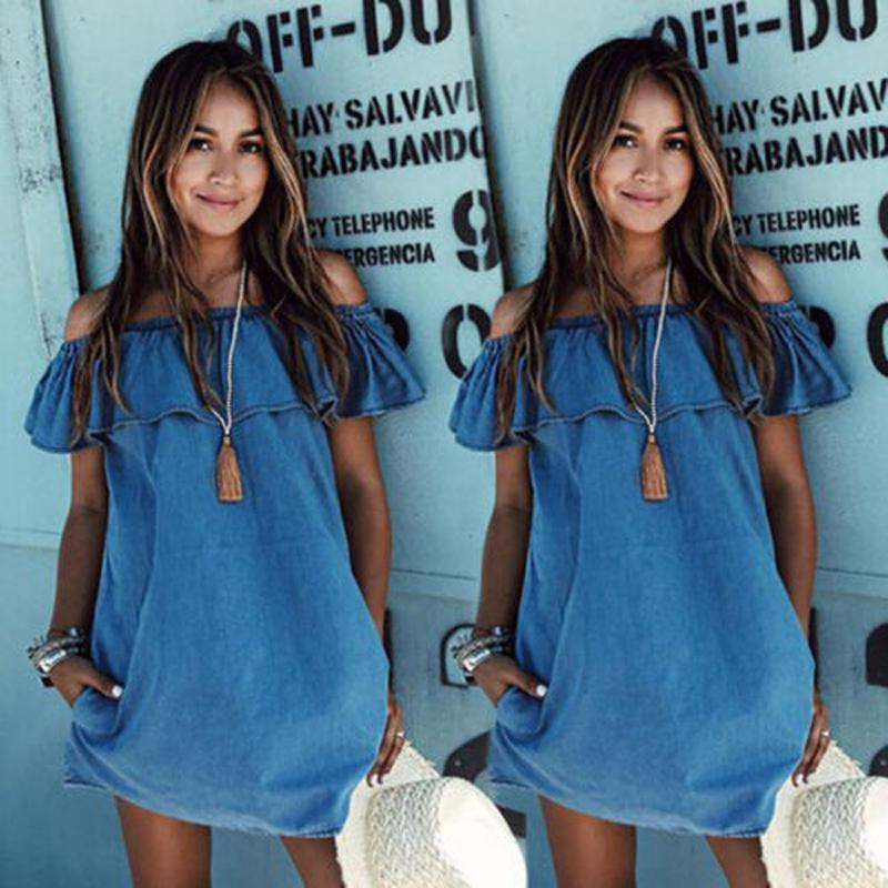 26101bb24b92 Fashion Cute Summer Women S Dress Denim Off Shoulder Ruffles Blue A Line  Mini Dress Outfit Party Sunsuit Women Clothing All White Summer Dress Party  Dress ...