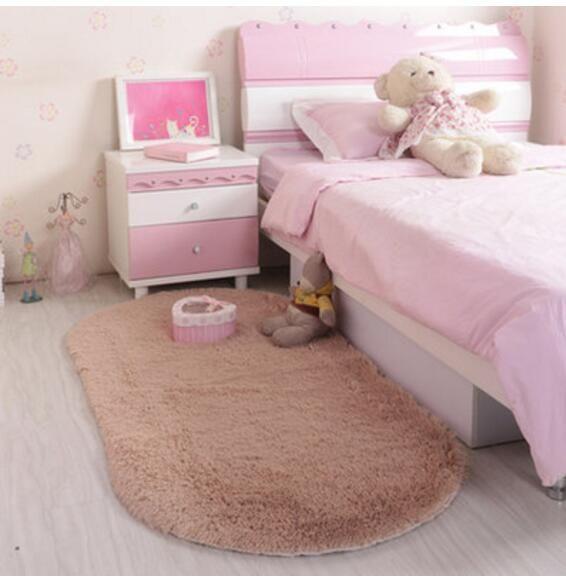 Wholesale Bedroom Flutty Oval Rugs Anti-Skid Shaggy Rug Dining Room Home Carpet Floor Mat Flokati Sofa Bed Bedroom Carp
