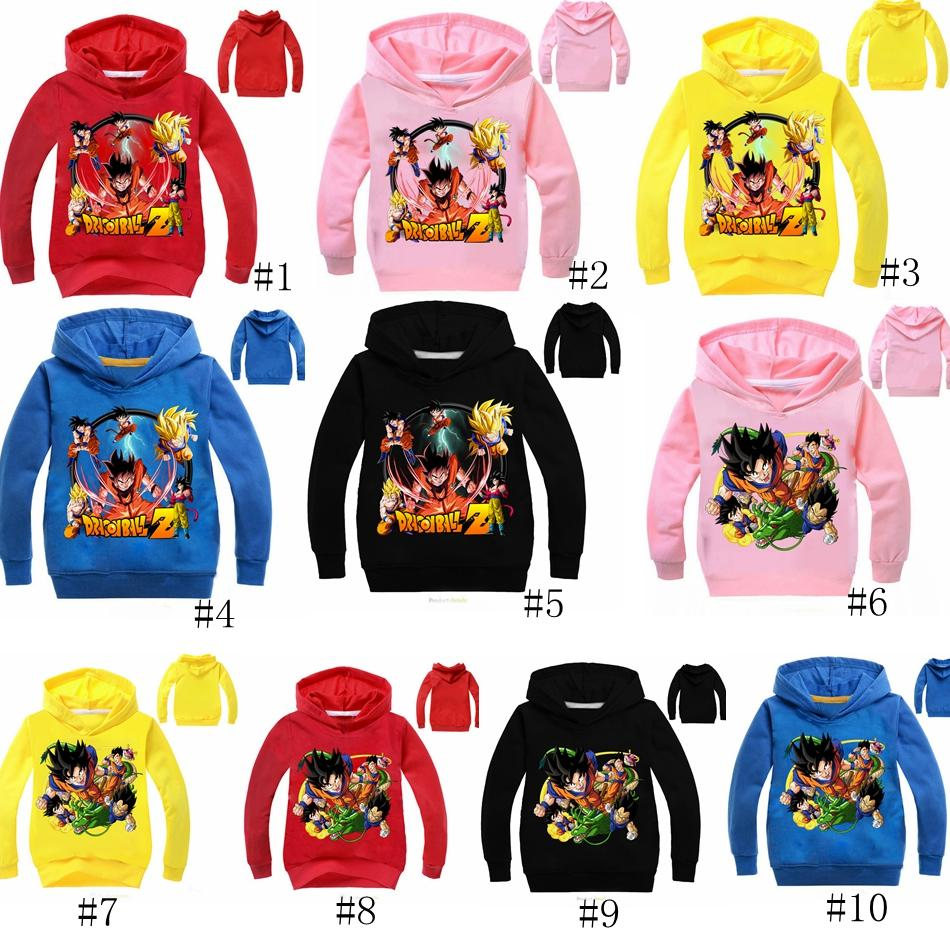 2019 10 Styles Boys Girls Dragon Ball Z Hoodies Long Sleeves T Shirt