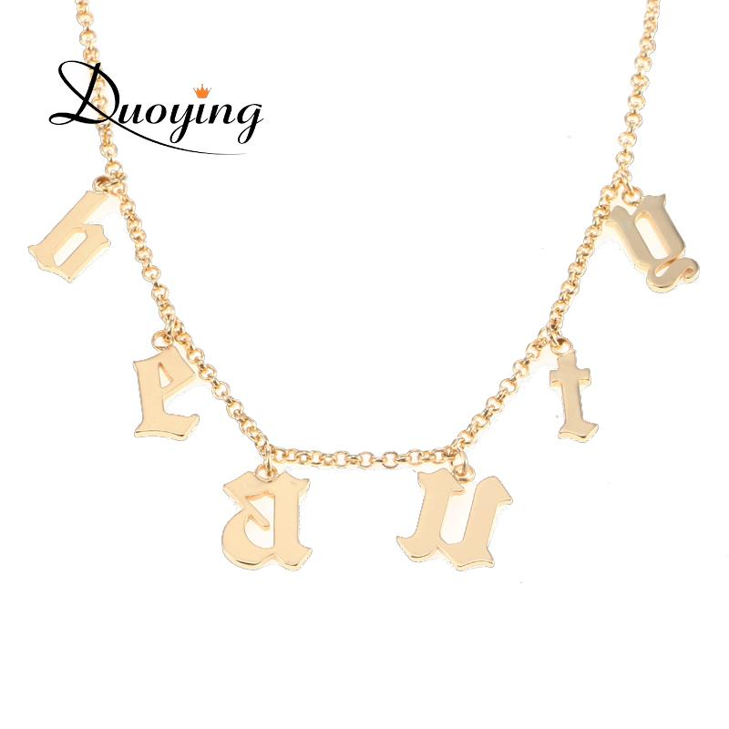 553229483c4a9 Duoying Old English Name Necklace Gothic Choker Beauty Custom Vintage Font  Personalized Tiny Letter Pendant Necklaces For Etsy