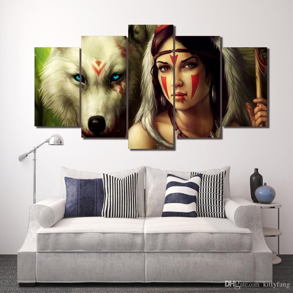 Framed HD Printed wolf color face woman Wall Art Canvas Print Poster Canvas Pictures Abstract Oil Painting