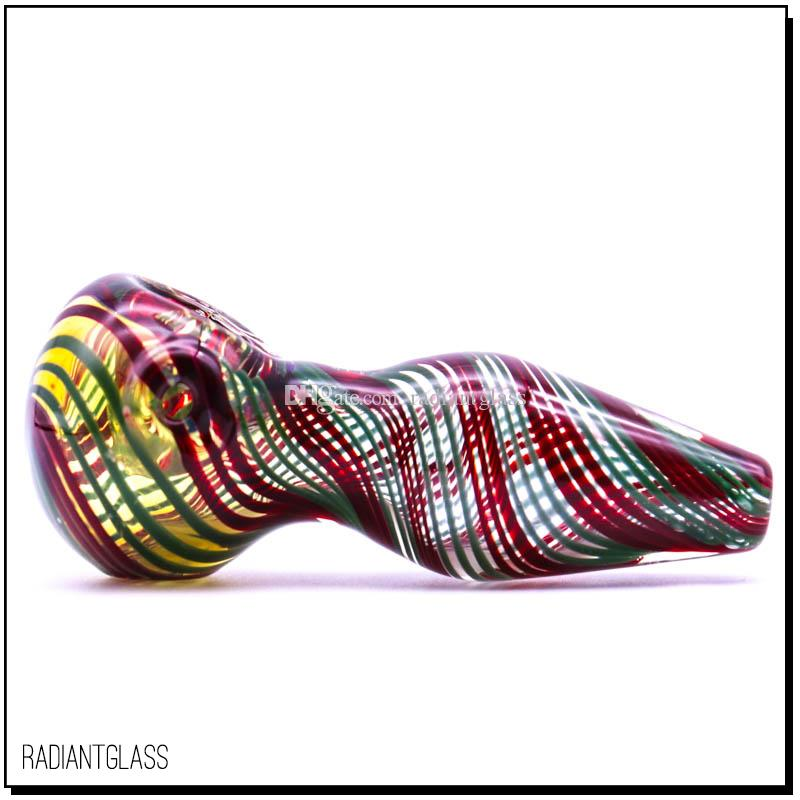 glass smoking pipe stripe tobacco hand pipe pyrex colorful glass pipe manufature hand-make pipes for smoking