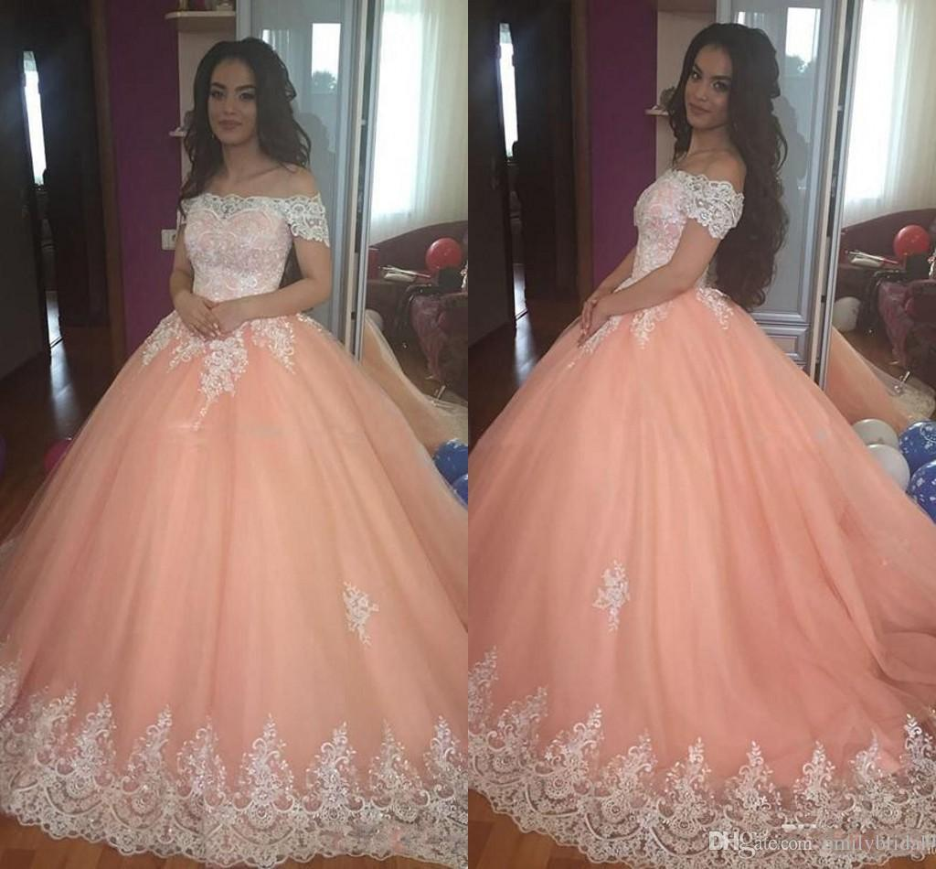 2018 Sweet 16 Peach Ball Gown Prom Dress For 15 Years Girl Lace ...