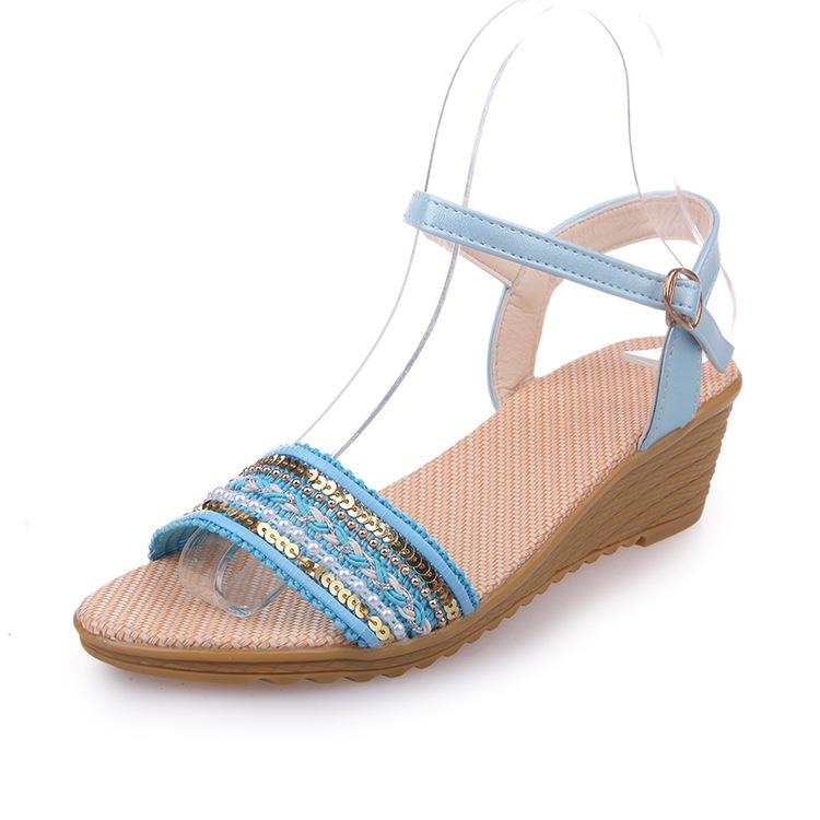 81f765585a56 2018 Summer New Women Flat Sandals Ladies Wedges Platform Buckle Sandals  Genuine Weave Female Exposed Toe Fish Mouth Sandals Fast Shipping Cheap  Sandals ...