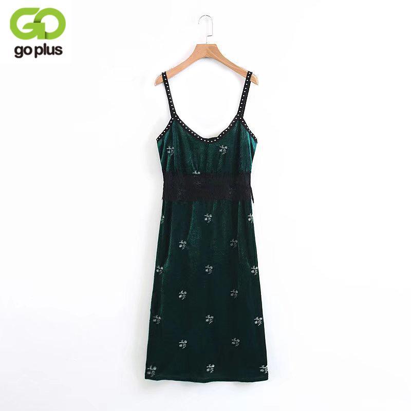 a006aa455c055 Satın Al GOPLUS Vintage Çiçekli Nakış Kadife Spagetti Kayışı Elbise  Kadınlar 2018 Yeni Moda Avrupa Tarzı Dantel Patchwork Elbiseler C5553,  $29.93 | DHgate.