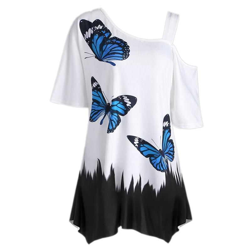 Summer Sexy Ladies Plus Size Oblique Shoulder T Shirt Butterfly Printed Strap Short Sleeve Tops Women Tops Tees T8