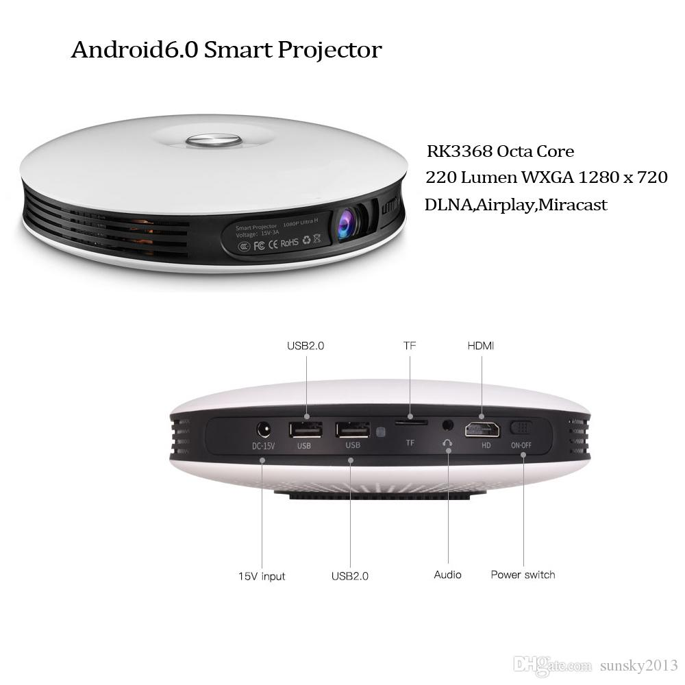 R3 DLP Mini Portable LED Projector Android 6.0 2GB RAM 32GB ROM RK3368 Octa Core Bluetooth 2.4G/5G Wifi with 12000mAh Battery 4K Home Movie