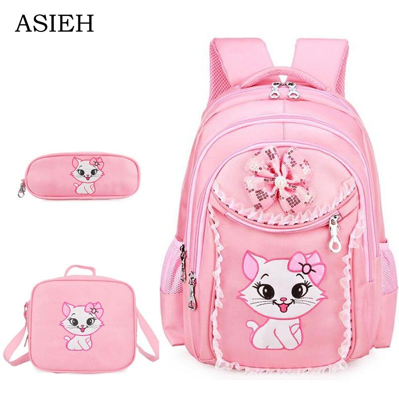 5a0a2afcc31 Pupils School Bag Sweet Cat Girl S Backpack Cartoon Pattern Kid Backpack  Children School Girl Portfolios For Teenagers Girls Backpacks Satchel Bags  From ...