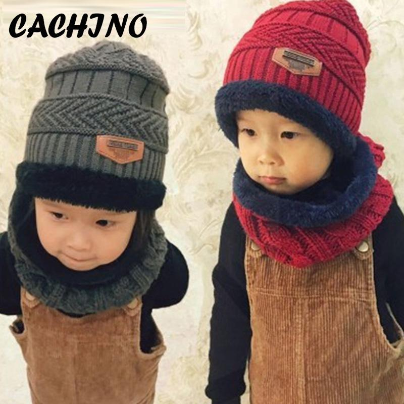 2b2bd85307373 2019 CACHINO Parent Child Skullies Super Warm Winter Balaclava Wool Beanies  Knitted Hat Scarf For 3 12 Years Old Girl Boy Hats From Neyei