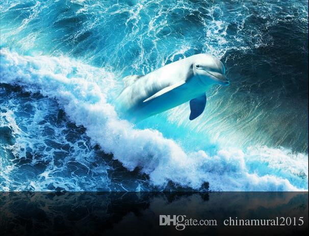 Dolphin océano azulejos tridimensionales pintura de pared papeles decoración para el hogar 3d