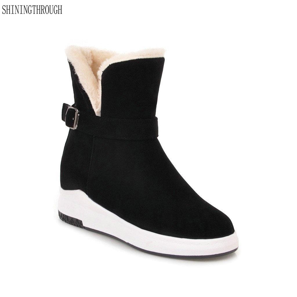 05e4a216 Compre 2018 Nueva Moda Hebilla Botines Plataforma Plana Mujer Botas  Invierno Cálido Botas De Nieve Zapatos Casuales Mujer Negro Marrón Beige A  $83.01 Del ...
