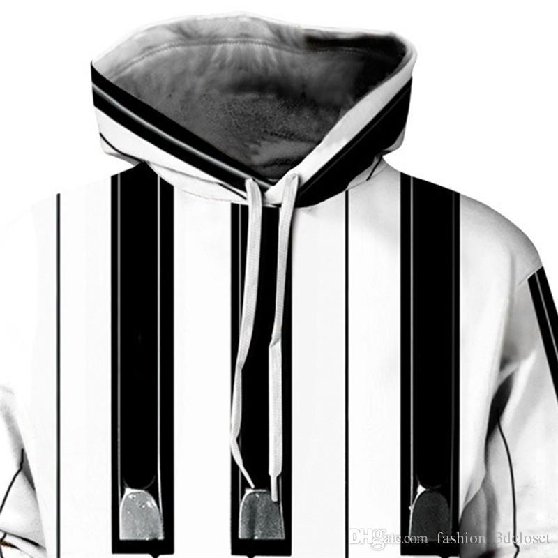 Piano Style 3D Hoodie Tracksuit Men Black White Striped Sweatshirt Hip Hop New Arrival Pullover Tops Male Casual Fitness Hooded
