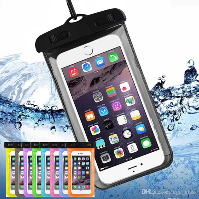Waterproof Phone Case Cellphone Water Proof Iphone Underwater Pouches Fluorescent Edge Dry Bags with Lanyard for iphone XS MAX XR X 8 WCC1-2