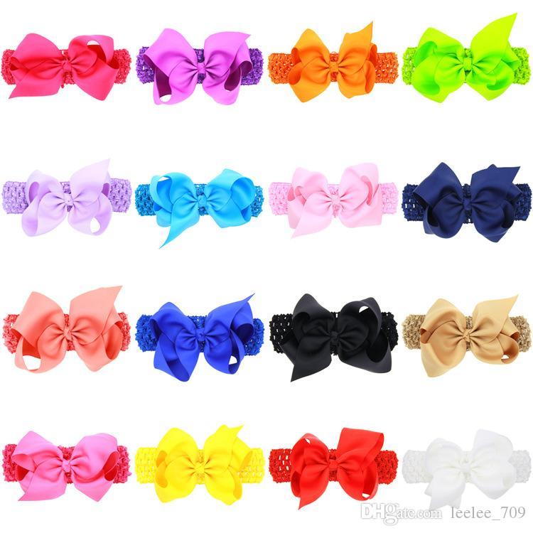 "Baby Hairs Bows 4.7*4"" Kids Grosgrain Ribbon Bowknot Headbands Girls Wide Hairbands Children Elastic Bow Headbands Hair Accessories KHA323"