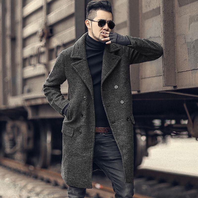 f162c4f41c 2019 2018 Men New Winter Woolen Double Breasted Coat Metrosexual Man Long Coat  European Style Warm Slim Fashion Jacket Casual Brand Y181101 From  Zhengrui04