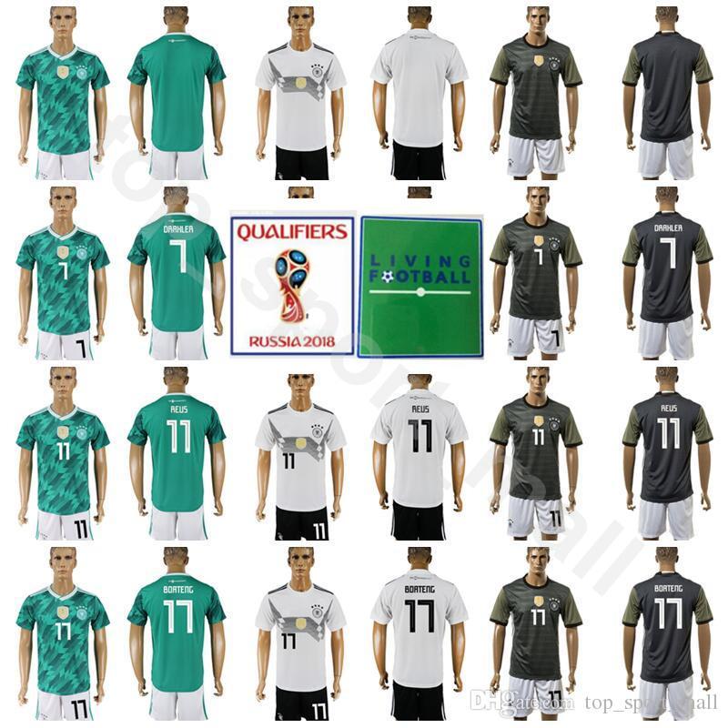 15e870c790fc 2018 World Cup Soccer 7 Julian Draxler Germany Jersey Set Men 11 Marco Reus  17 Jerome Boateng Football Shirt Kits Team White Green UK 2019 From ...