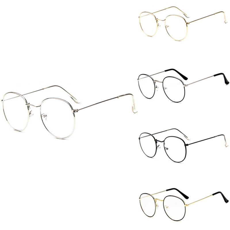 b034ae9875 2019 Fashion Chic Eyeglasses Retro Big Round Metal Frame Clear Lens Glasses  Nerd Spectacles From Marquesechriss