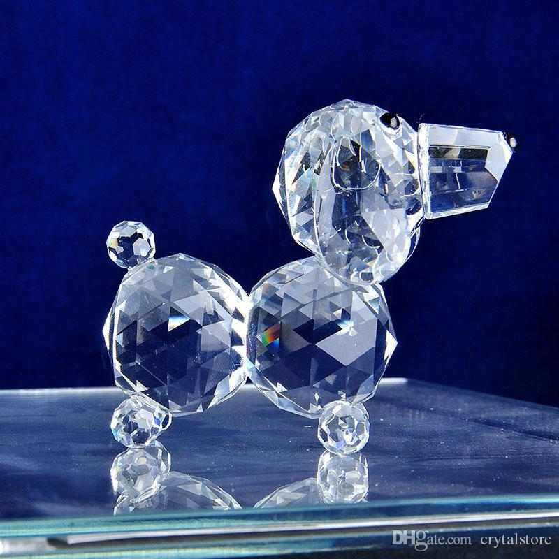 Clear Crystal Dog Figurines Paperweight Crafts Collection Souvenir Gifts Home Decor
