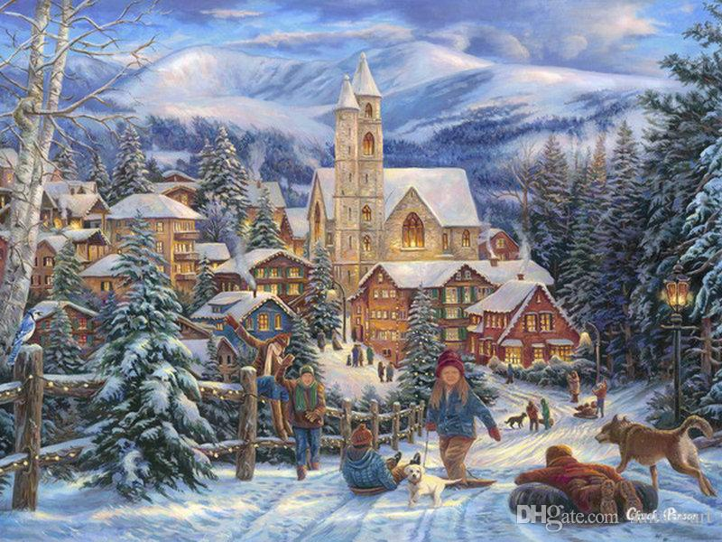 Discount Thomas Kinkade Landscape Oil Painting Christmas Village Art ...