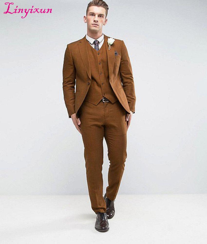 Compre Linyixun 2018 Moda Hombre Trajes De Boda Clásico Un Botón Marrón Hombres  Traje Terno Masculino Slim Fit Blazer Hombre Formal De Negocios A  146.85  ... 5a326357460