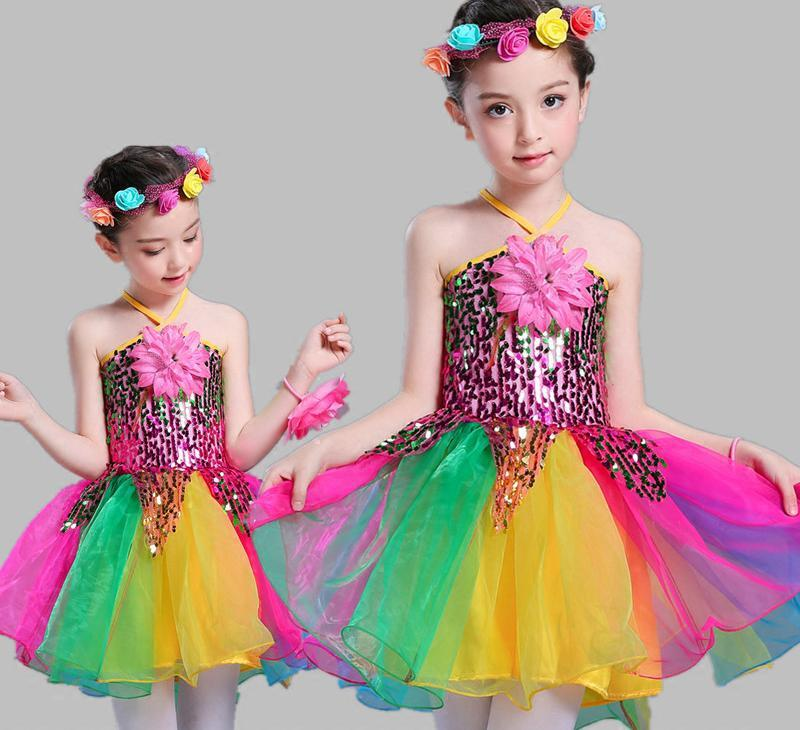 adfd9a482571 2019 Child Sequins Jazz Dance Colorful Dress Ballet Costumes For ...