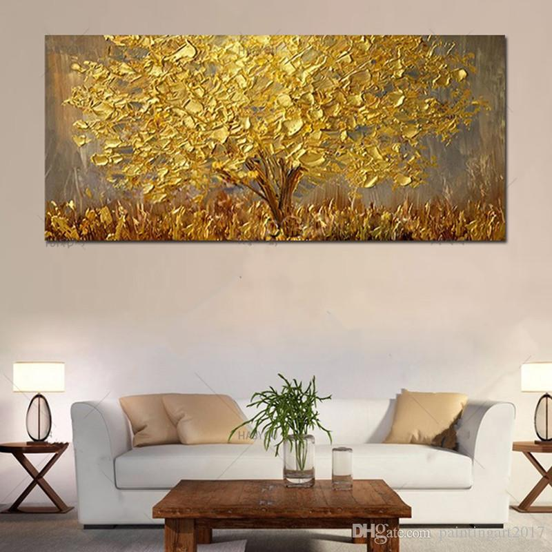 Large Hand-painted Knife Trees Oil Painting On Canvas Palette Golden Yellow Paintings Modern Abstract Wall Art Pictures Home Decor Gifts