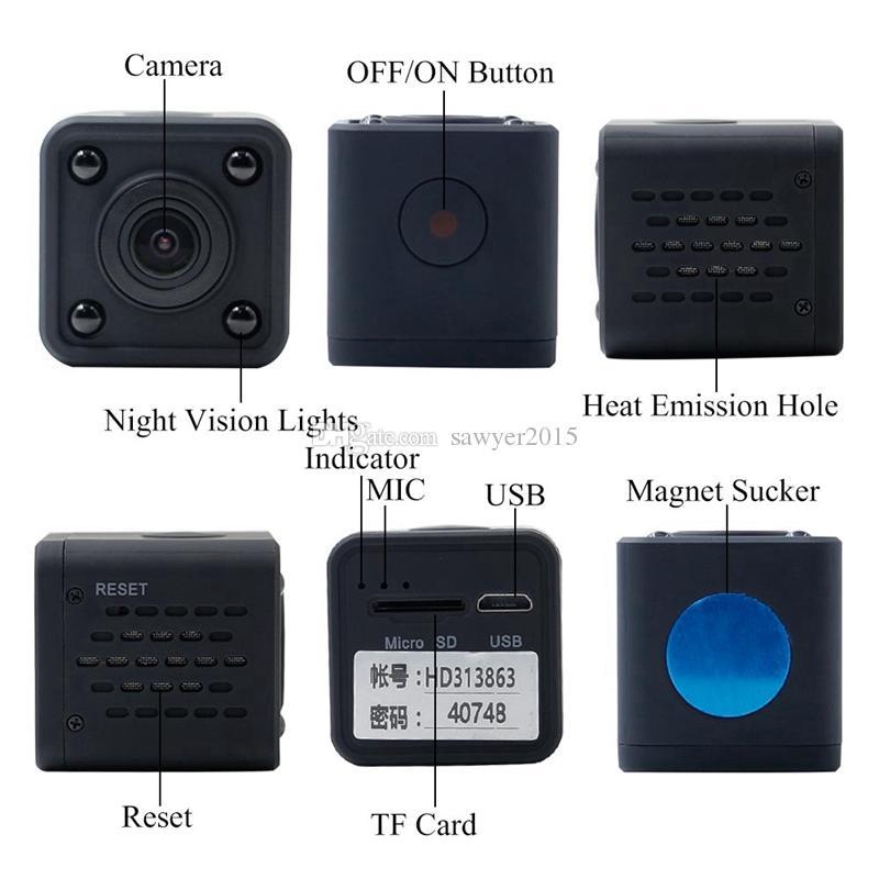 Wireless WiFi mini Camcorder Mini Pocket Camera HD 1080p Handhold Digital Cameras Portable DV Recorder 120 Degree Angle View Camera HDQ9