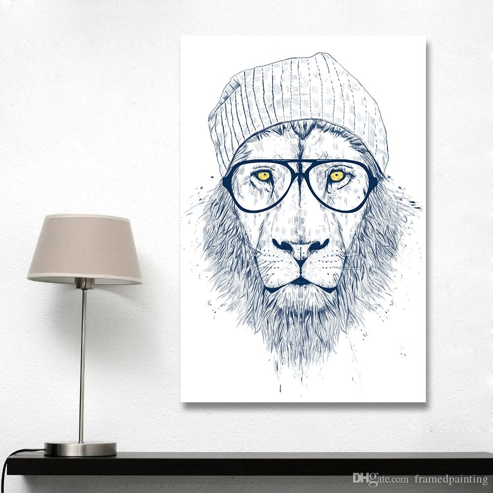 Modern Graffiti Art Wall Pictures For Living Room Cool Lion Illustrator Animal Painting Home Decor Printed No Frame