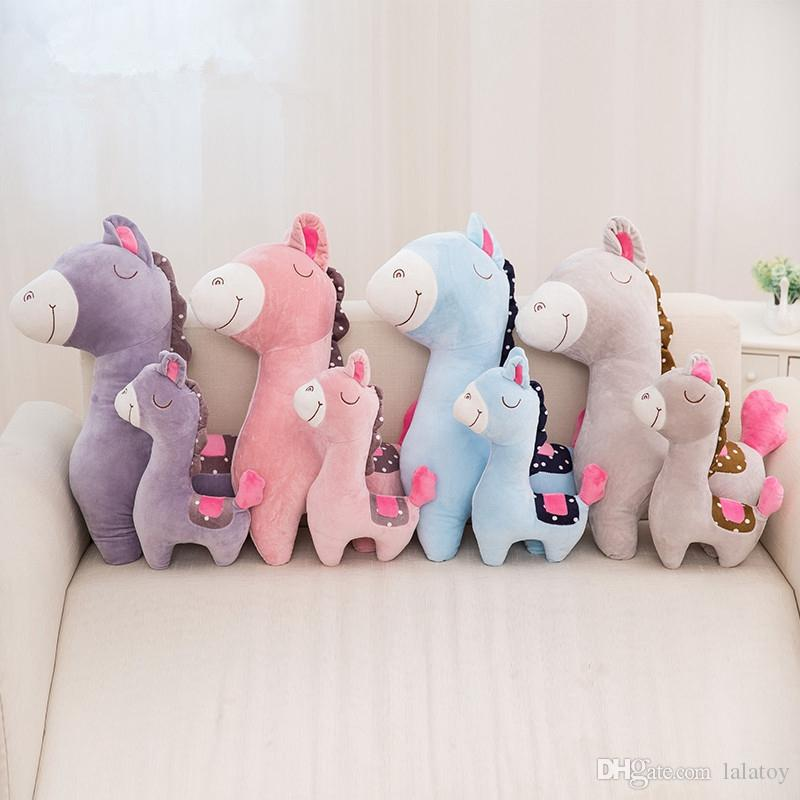 Dropshipping 38cm 60cm Stuffed Horse Plush Toys Cartoon Animals Creative Presents for Kids Loved Gifts for Children LA037