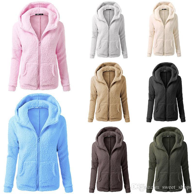 ba707bdcc73 2019 Women Sherpa Hoodies Long Sleeve Soft Fleece Sweatshirt Winter  Cardigan Oversized Zipper Outwear Sweaters Hooded Coat Sherpa Jacket S 5XL  From ...