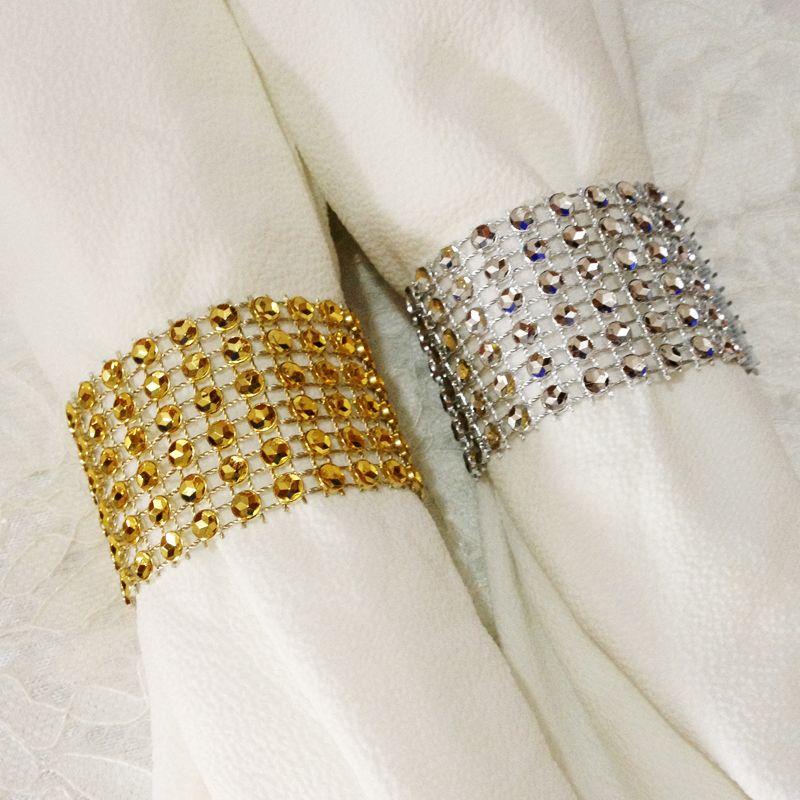 Wholesale Cheap Diamond Napkin Rings 6Rows Bling Silver Gold Wedding Napkin  Buckle Table Decoration Wedding Reception Party Supplies Wedding Decoration  ... 402de838327f