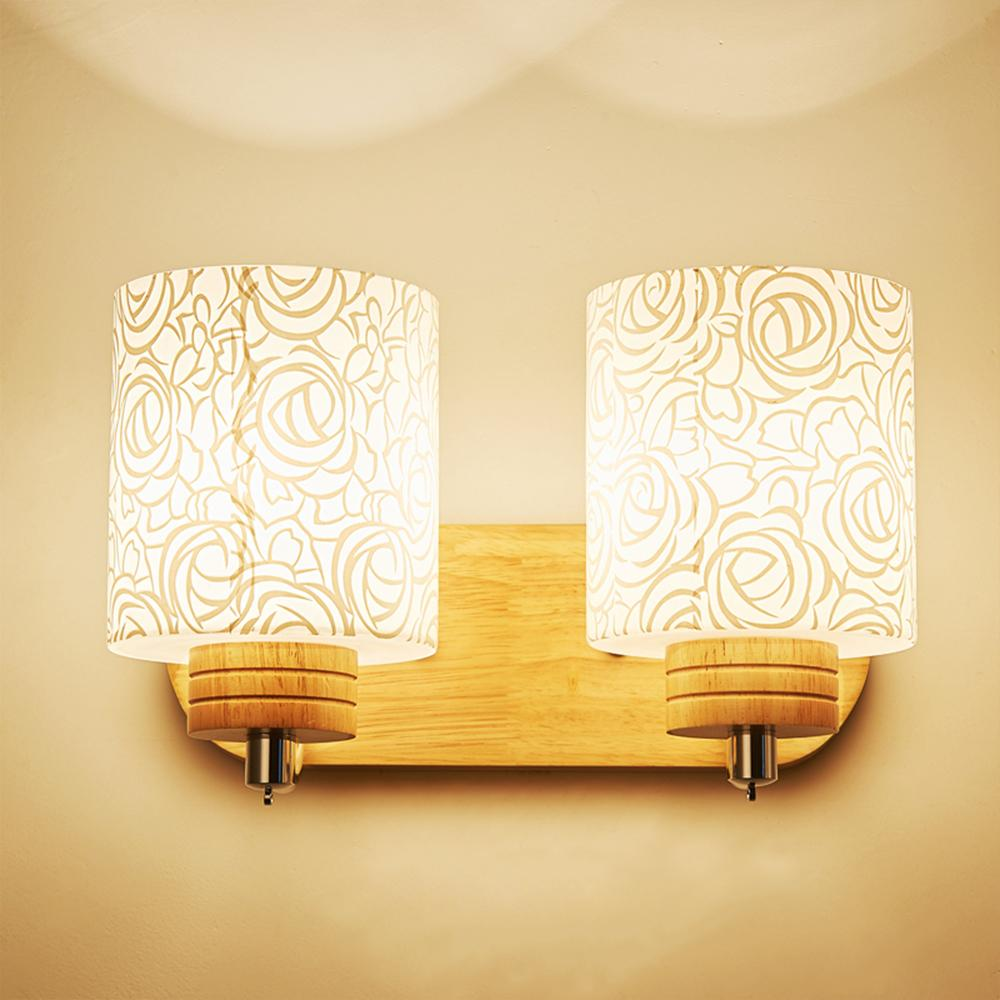 HGhomeart Reading Lamps Wall Mounted Modern Wood Wall Lamp Luminaria E27 Light 110-220V Mounted Bedside Lamps Fixtures