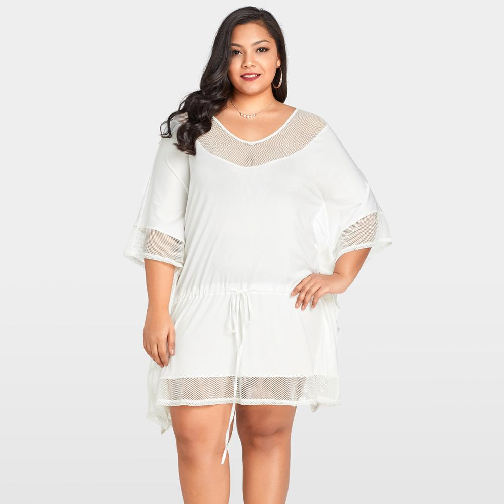 2018 New Summer Beach Tunic Dress Women Plus Size Loose White Dress Mesh  Splice O Neck Bat Sleeve Drawstring Casual Mini Dresses