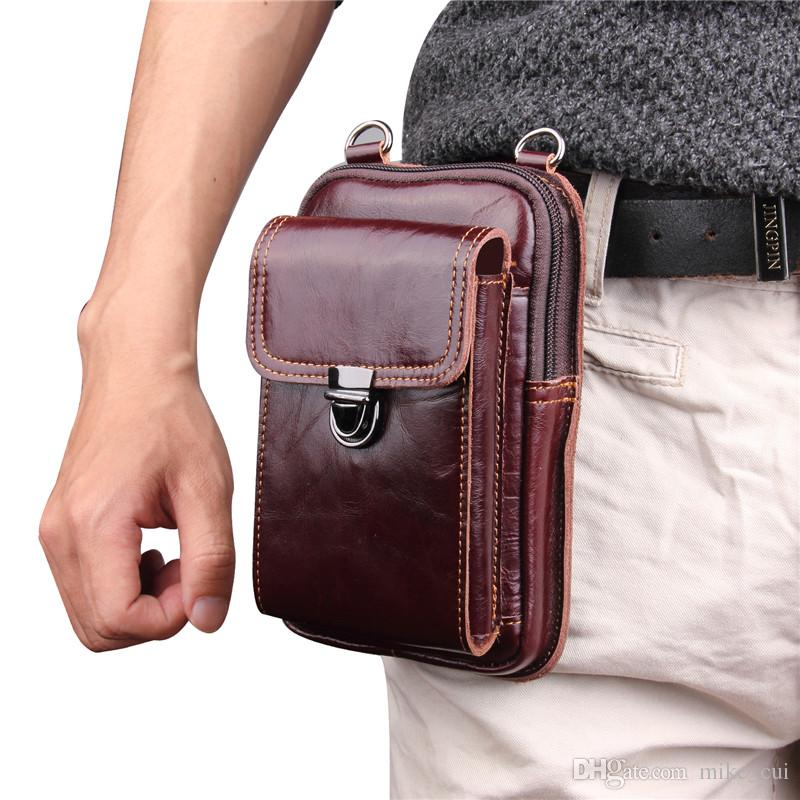 97839d03e10f 2018 Men S Fashion Travel Genuine Leather Cigarette Keys Waist Belt Bag  Fanny Pack Molle Mini Money Pouch Mobile Phone Bag Custom Phone Cases Phone  Cases ...