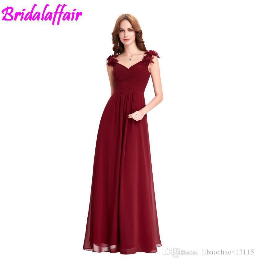 7c9fbca993181 Wine Red Long Chiffon Dress Cheap Vestido De Festa Longo Floor Length  Wedding Bridesmaid Gown Formal Burgundy Dress Bridesmaid Formal Dress  Unique ...