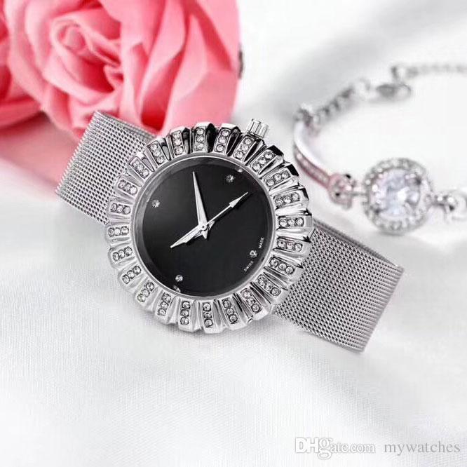 c18b3d7249d Compre 2 Conjuntos De Moda Mulheres Relógios Pulseiras Marca De Luxo De  Diamante Moldura De Aço Inoxidável Banda De Quartzo Relógio De Pulso Para  Senhoras ...
