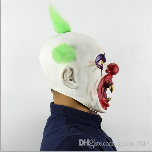 Scary Clown Mask Green Hair Buck teeth Full Face Horror Masquerade Adult Ghost Party Mask Halloween Props Costumes Fancy Dress