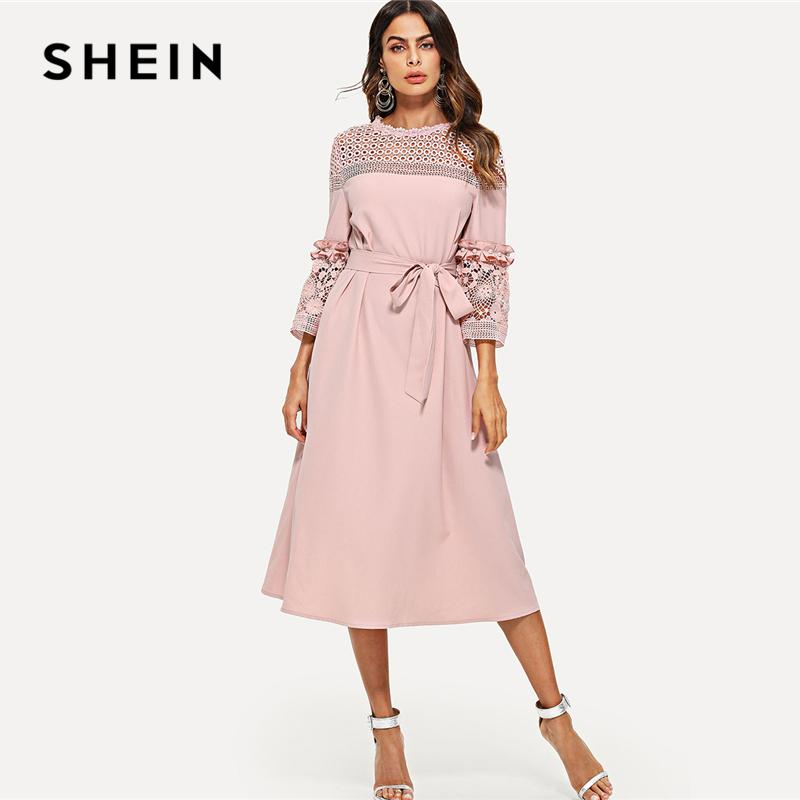 ee17678c92 SHEIN Lace Yoke And Sleeve Pearl Beading Belted Dress Pink 3/4 Sleeve  Ruffle Straight Tunic Dresses Women Autumn Elegant Dress Teen Party Dresses  Affordable ...