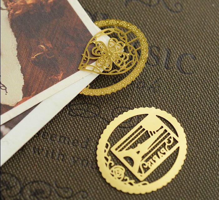 Lindo oro marcador de metal moda birdcage corona cat clips para libros de papel productos creativos papelería