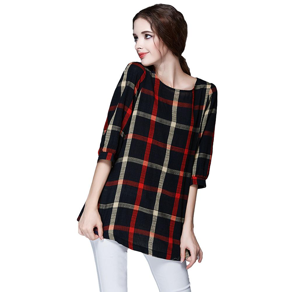 1f7455f68b846 2019 4XL 5XL Plus Size Fashion Women Blouse O Neck 3 4 Sleeve Plaid Shirt  Casual Vintage Ladies Big Size Blouses Shirts Tops 2019 Red From Feeling07
