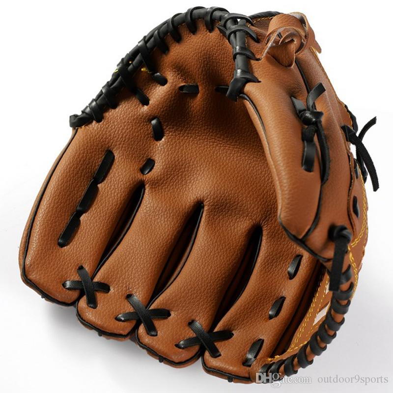 Новый Спорт на открытом воздухе Браун бейсбол перчатки софтбол практика Оборудование одной руки перчатки Thicker Кувшин Софтбол перчатки