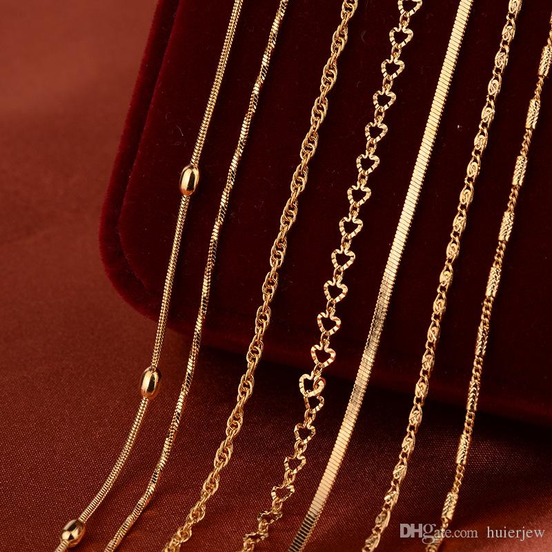 Gold Chain Necklace For Pendant Women Men Jewelry Brand DIY Gold Plated Copper Twisted Rope Chain Wholesale Jewelry