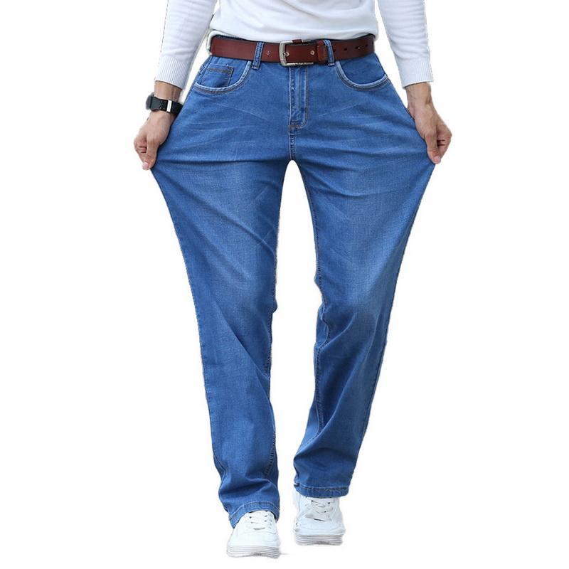 Compre LASPERAL Hombre Algodón Otoño Invierno Pantalones Vaqueros  Masculinos Hip Hop Jeans Monos Casual Hombres Suelta Pantalones Rectos  Pantalones Vaqueros ... 36281796d73