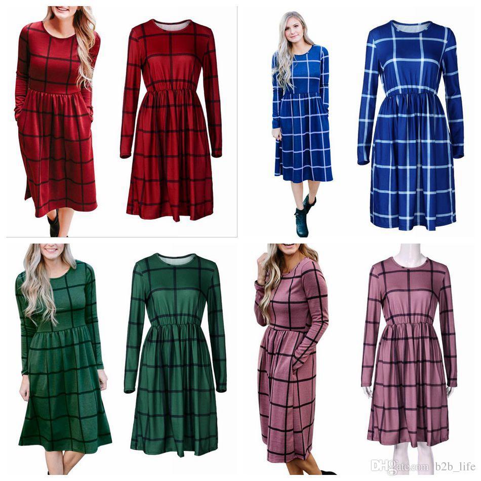 Plaid Donna Abito manica lunga Abito casual Plaid Pagliaccetto Slim Gonna Ladies Party Mini Shirt Dress OOA4149