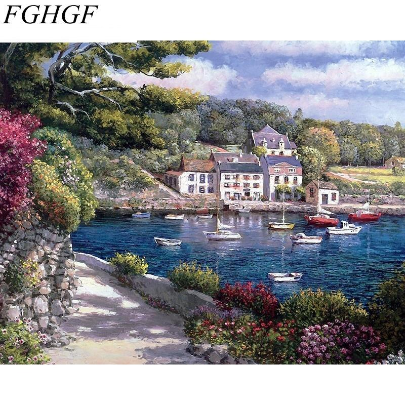 2019 Fghgf Boat Gardan Landscape Diy Painting By Numbers Kits Hand
