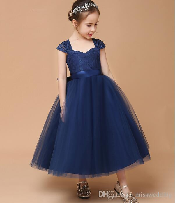 bd47254f0 Competitive Price Cap Sleeve Navy Blue Tulle Girls  Party Dress Lace ...