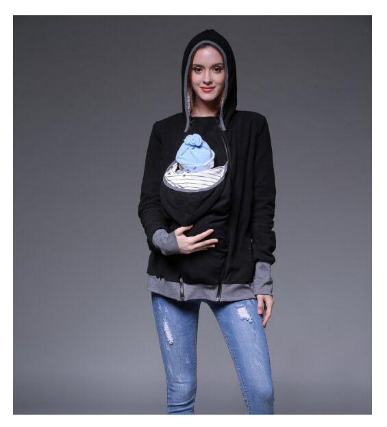 Autumn Winter Women Tops Fashion Baby Carrier Hoodie Zip Up Maternity Kangaroo Hooded Sweatshirt Hoodies