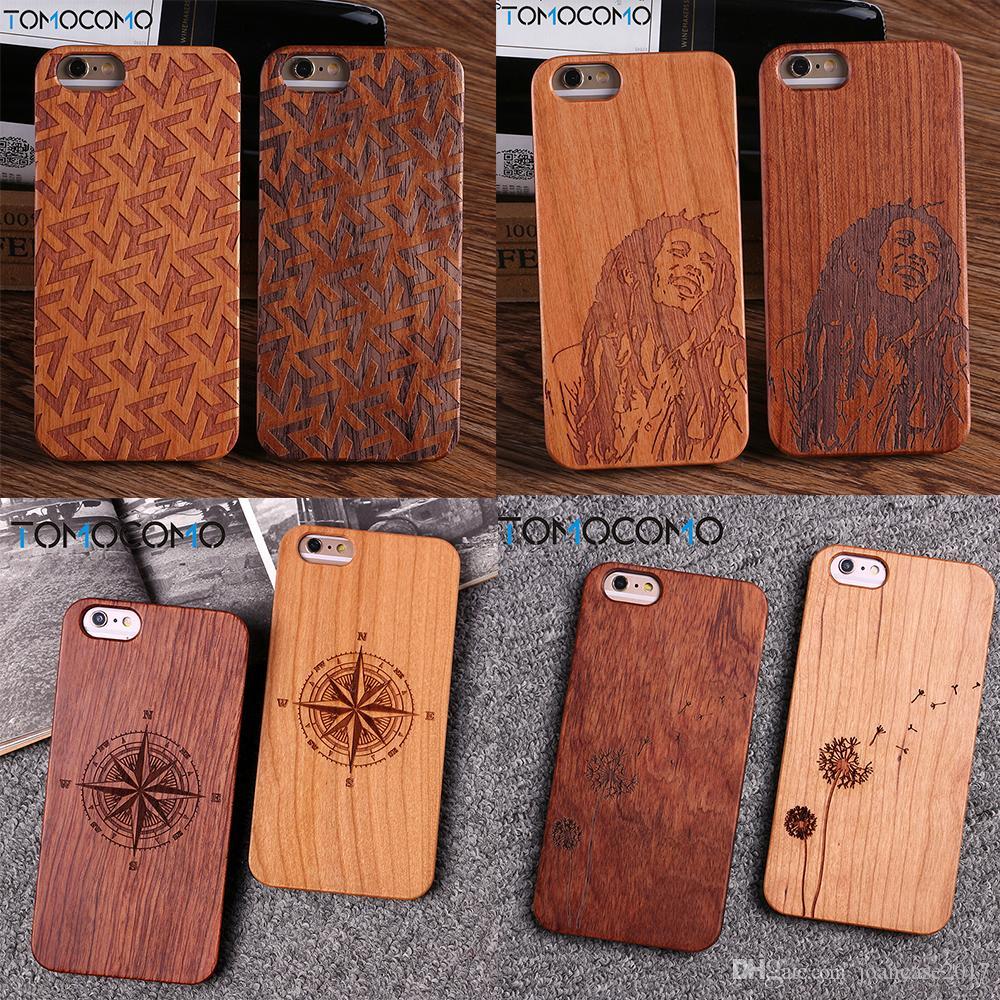 For iPhone 8 8Plus X 6 6Plus 7 7Plus Dandelion Deer Compass Cartoon Floral  Wood Case For SAMSUNG S6 S7 Edge S8 plus